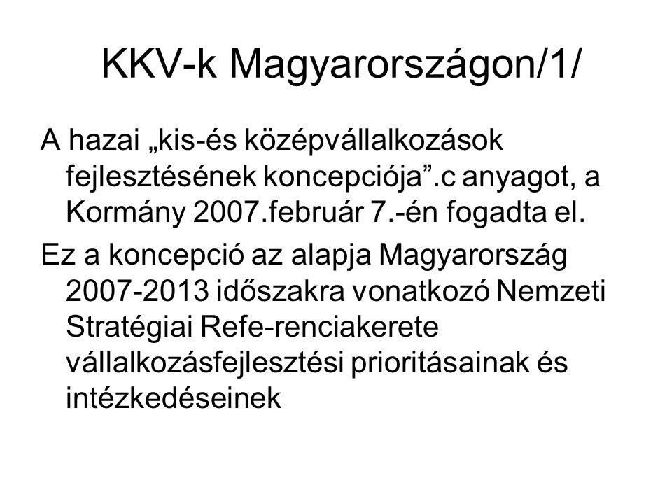 """KKV-k Magyarországon/1/ A hazai """"kis-és középvállalkozások fejlesztésének koncepciója .c anyagot, a Kormány 2007.február 7.-én fogadta el."""