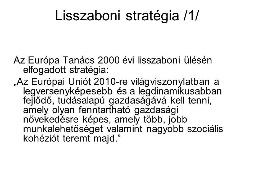 """Lisszaboni stratégia /1/ Az Európa Tanács 2000 évi lisszaboni ülésén elfogadott stratégia: """"Az Európai Uniót 2010-re világviszonylatban a legversenyképesebb és a legdinamikusabban fejlődő, tudásalapú gazdaságává kell tenni, amely olyan fenntartható gazdasági növekedésre képes, amely több, jobb munkalehetőséget valamint nagyobb szociális kohéziót teremt majd."""