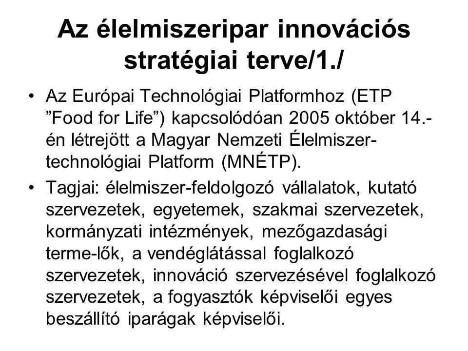 Az élelmiszeripar innovációs stratégiai terve/1./ Az Európai Technológiai Platformhoz (ETP Food for Life ) kapcsolódóan 2005 október 14.- én létrejött a Magyar Nemzeti Élelmiszer- technológiai Platform (MNÉTP).