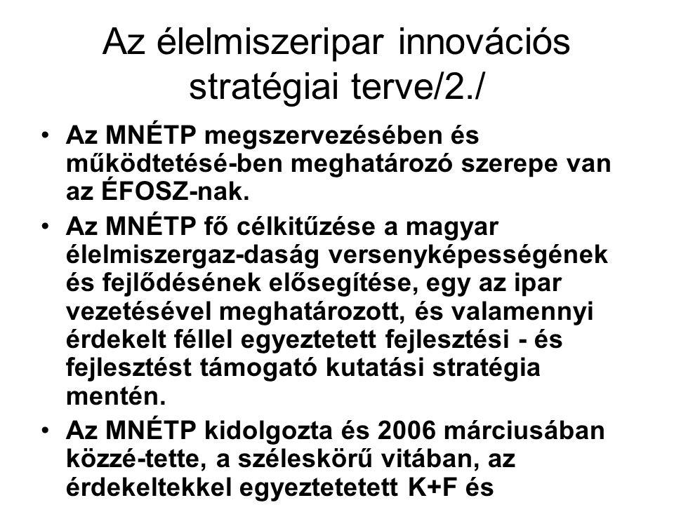 Az élelmiszeripar innovációs stratégiai terve/2./ Az MNÉTP megszervezésében és működtetésé-ben meghatározó szerepe van az ÉFOSZ-nak.