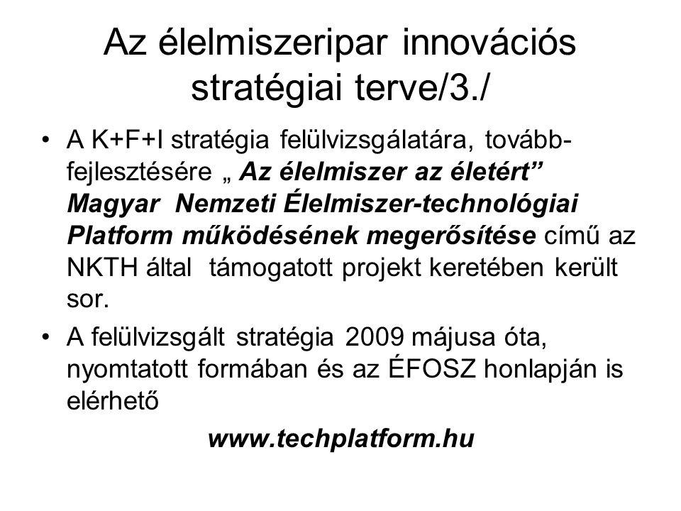 """Az élelmiszeripar innovációs stratégiai terve/3./ A K+F+I stratégia felülvizsgálatára, tovább- fejlesztésére """" Az élelmiszer az életért Magyar Nemzeti Élelmiszer-technológiai Platform működésének megerősítése című az NKTH által támogatott projekt keretében került sor."""