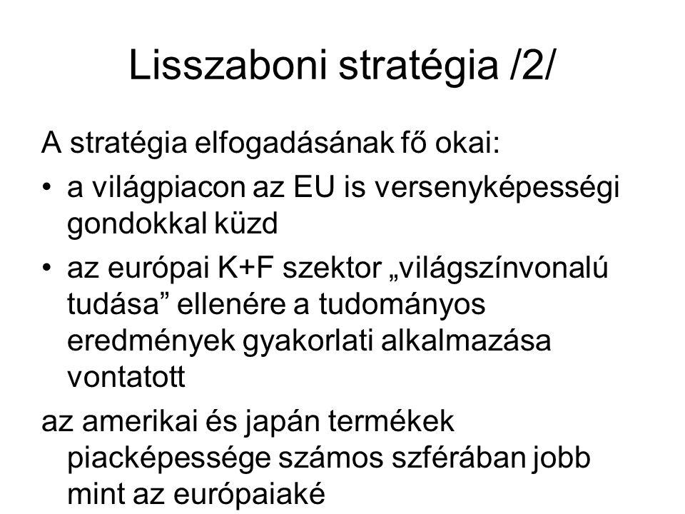 """Lisszaboni stratégia /2/ A stratégia elfogadásának fő okai: a világpiacon az EU is versenyképességi gondokkal küzd az európai K+F szektor """"világszínvonalú tudása ellenére a tudományos eredmények gyakorlati alkalmazása vontatott az amerikai és japán termékek piacképessége számos szférában jobb mint az európaiaké"""