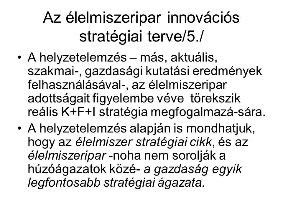 Az élelmiszeripar innovációs stratégiai terve/5./ A helyzetelemzés – más, aktuális, szakmai-, gazdasági kutatási eredmények felhasználásával-, az élelmiszeripar adottságait figyelembe véve törekszik reális K+F+I stratégia megfogalmazá-sára.