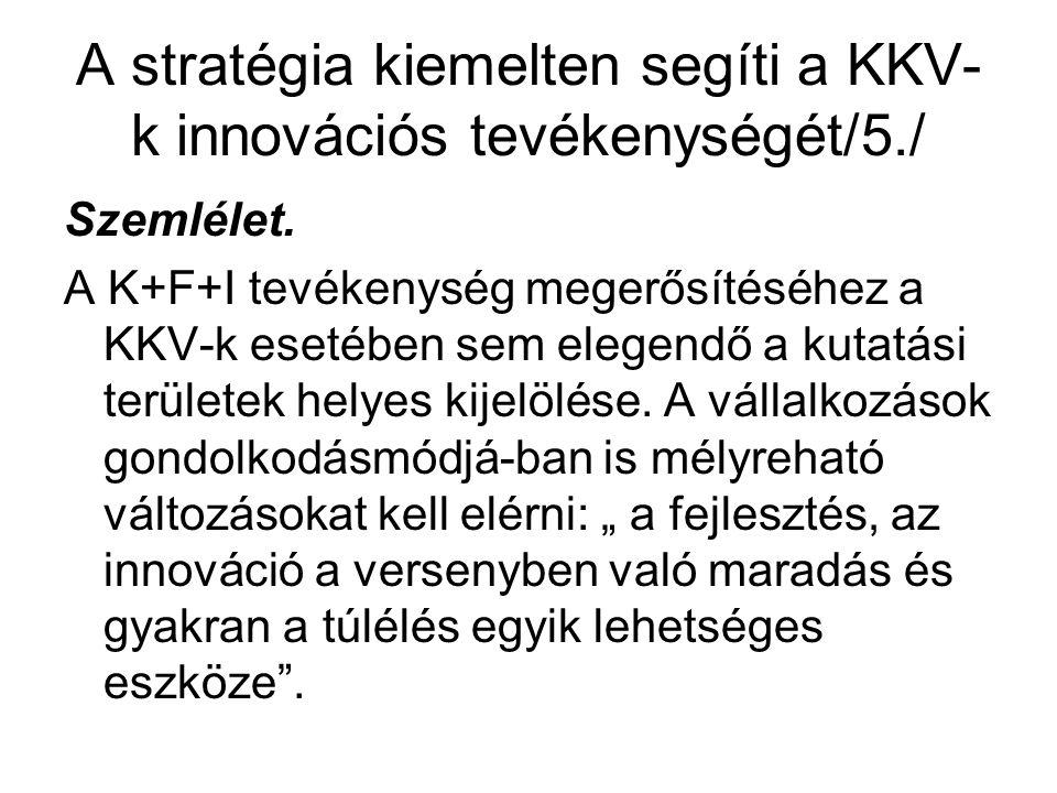 A stratégia kiemelten segíti a KKV- k innovációs tevékenységét/5./ Szemlélet.