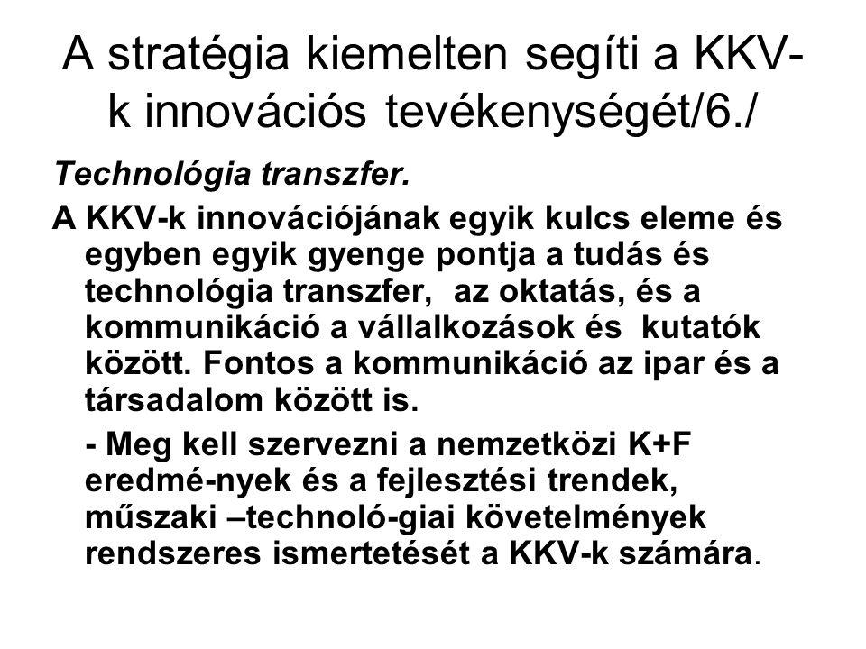 A stratégia kiemelten segíti a KKV- k innovációs tevékenységét/6./ Technológia transzfer.