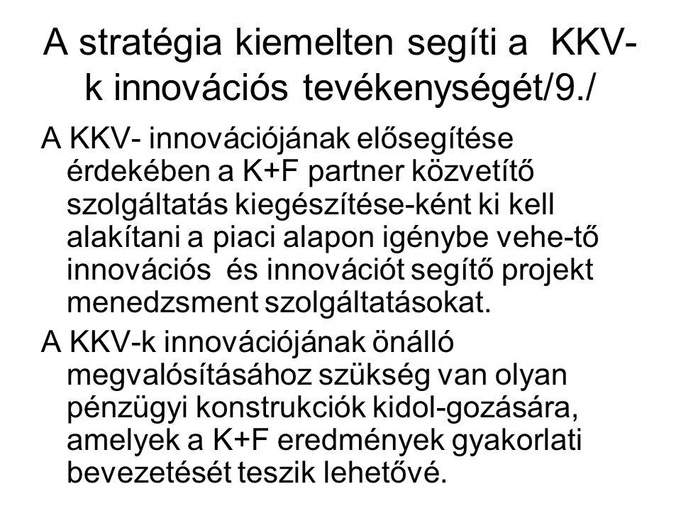 A stratégia kiemelten segíti a KKV- k innovációs tevékenységét/9./ A KKV- innovációjának elősegítése érdekében a K+F partner közvetítő szolgáltatás kiegészítése-ként ki kell alakítani a piaci alapon igénybe vehe-tő innovációs és innovációt segítő projekt menedzsment szolgáltatásokat.