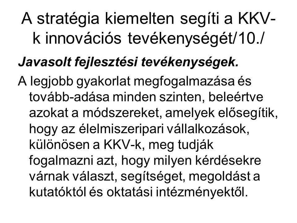 A stratégia kiemelten segíti a KKV- k innovációs tevékenységét/10./ Javasolt fejlesztési tevékenységek.