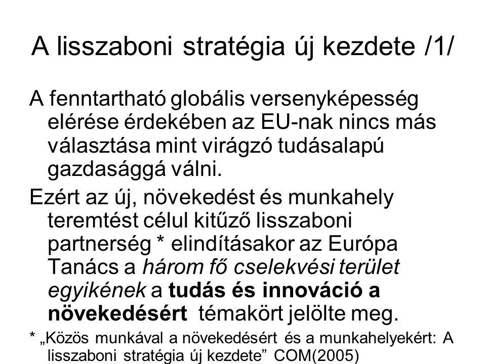A lisszaboni stratégia új kezdete /1/ A fenntartható globális versenyképesség elérése érdekében az EU-nak nincs más választása mint virágzó tudásalapú gazdasággá válni.