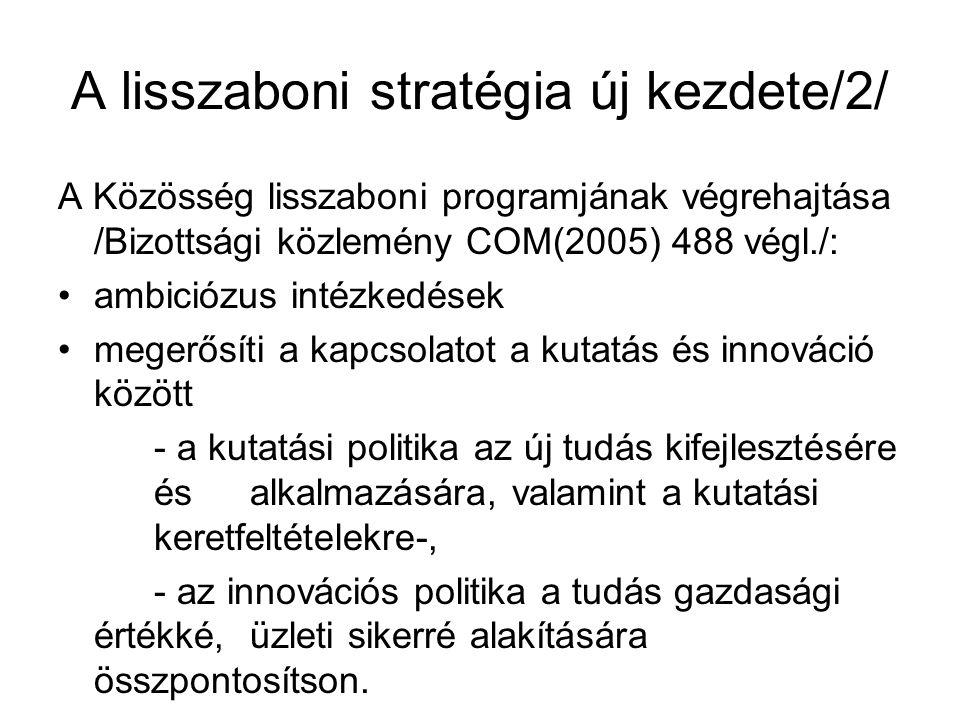 A lisszaboni stratégia új kezdete/2/ A Közösség lisszaboni programjának végrehajtása /Bizottsági közlemény COM(2005) 488 végl./: ambiciózus intézkedések megerősíti a kapcsolatot a kutatás és innováció között - a kutatási politika az új tudás kifejlesztésére és alkalmazására, valamint a kutatási keretfeltételekre-, - az innovációs politika a tudás gazdasági értékké, üzleti sikerré alakítására összpontosítson.