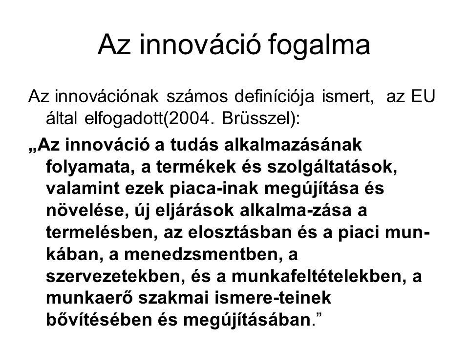 Az innováció fogalma Az innovációnak számos definíciója ismert, az EU által elfogadott(2004.