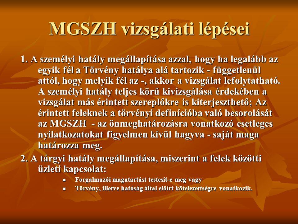 MGSZH vizsgálati lépései 1.