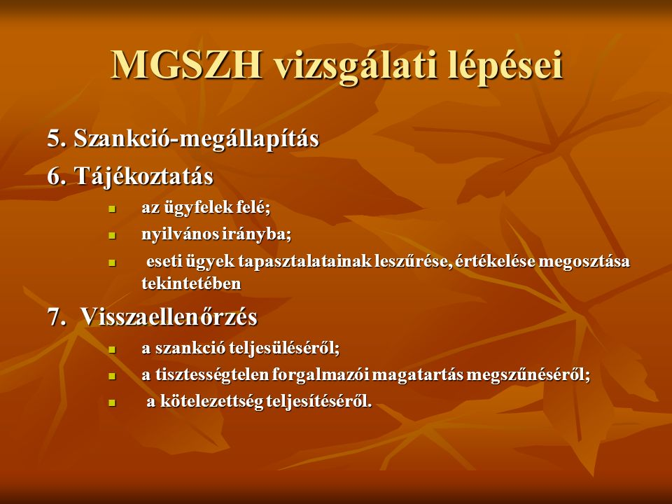MGSZH vizsgálati lépései 5. Szankció-megállapítás 5.