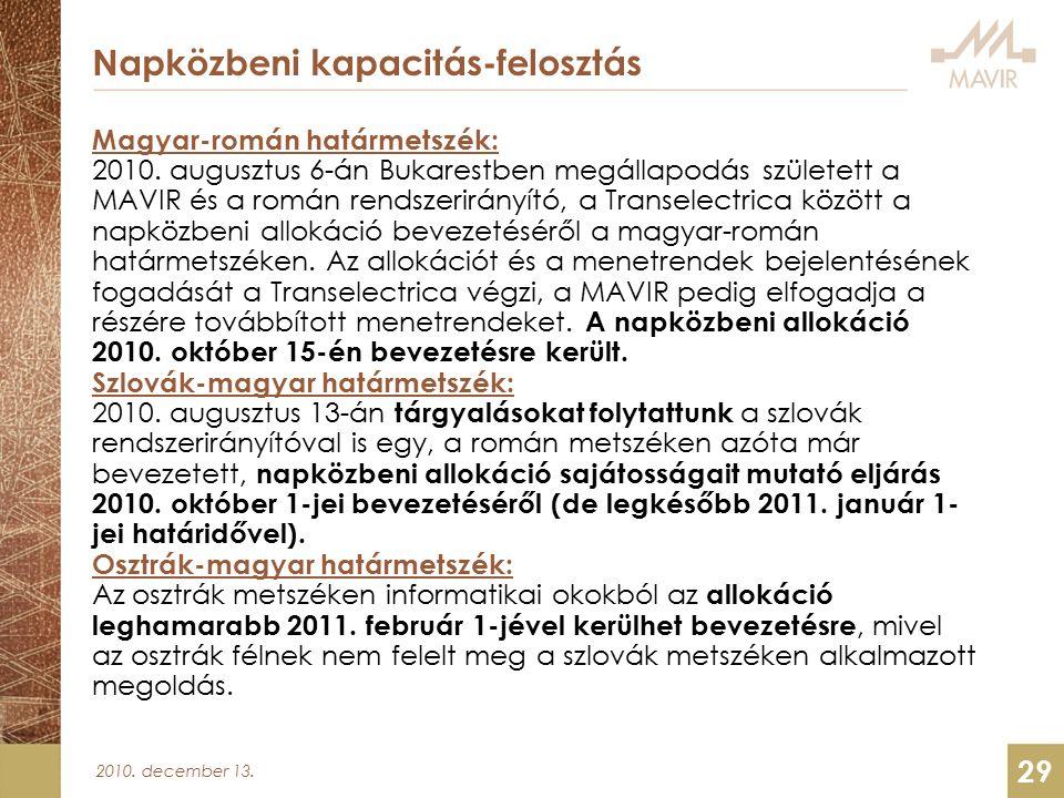 2010. december 13. 29 Napközbeni kapacitás-felosztás Magyar-román határmetszék: 2010.