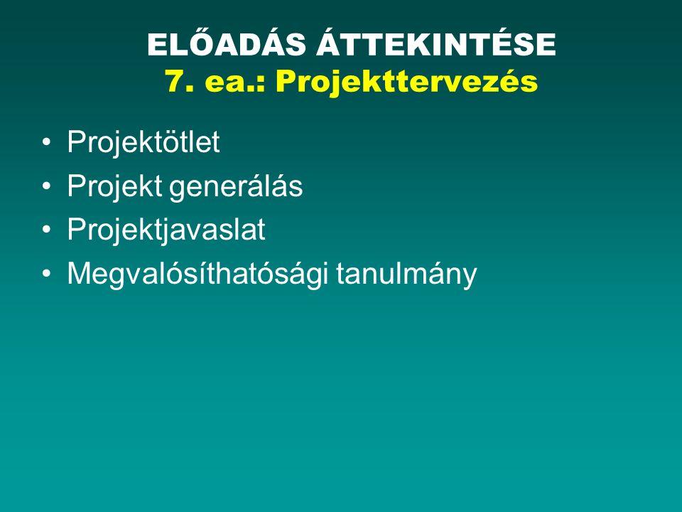 Projektötlet Projekt generálás Projektjavaslat Megvalósíthatósági tanulmány ELŐADÁS ÁTTEKINTÉSE 7.