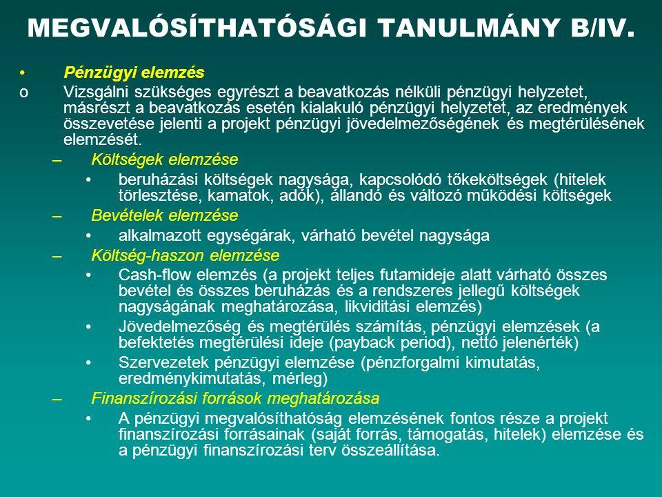 MEGVALÓSÍTHATÓSÁGI TANULMÁNY B/IV.