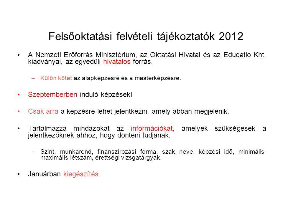 Felsőoktatási felvételi tájékoztatók 2012 A Nemzeti Erőforrás Minisztérium, az Oktatási Hivatal és az Educatio Kht.