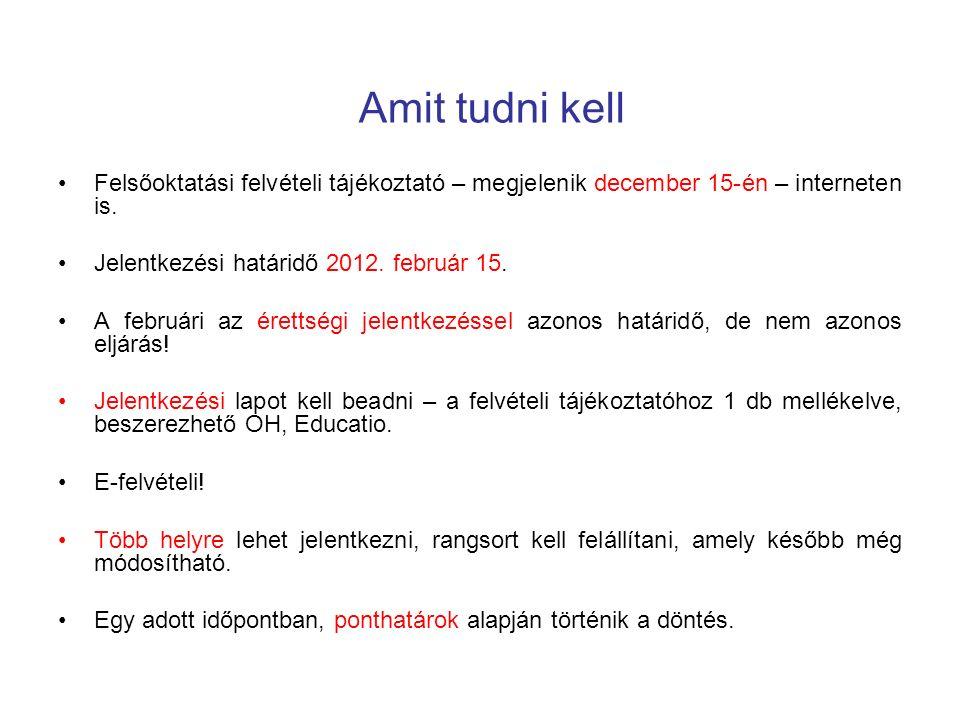 Amit tudni kell Felsőoktatási felvételi tájékoztató – megjelenik december 15-én – interneten is.