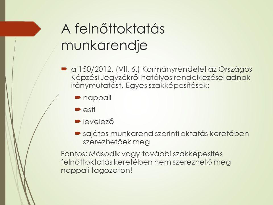 A felnőttoktatás munkarendje  a 150/2012. (VII.