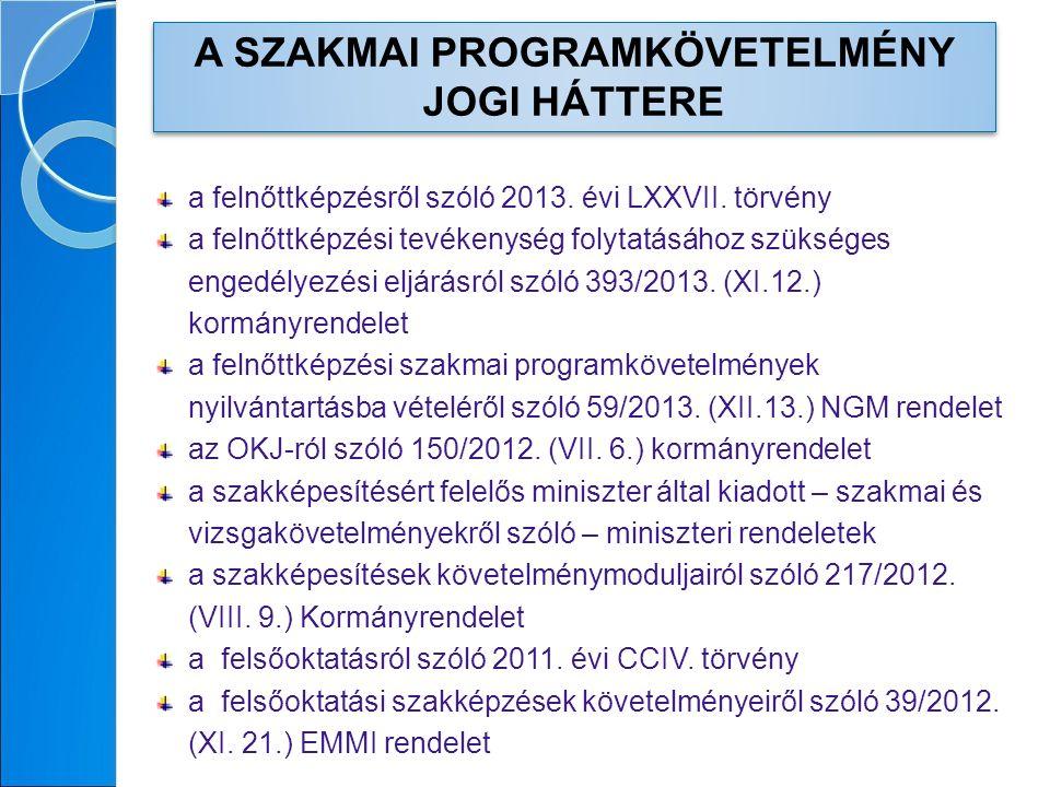 a felnőttképzésről szóló 2013. évi LXXVII.