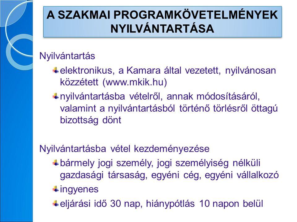 Nyilvántartás elektronikus, a Kamara által vezetett, nyilvánosan közzétett (www.mkik.hu) nyilvántartásba vételről, annak módosításáról, valamint a nyilvántartásból történő törlésről öttagú bizottság dönt Nyilvántartásba vétel kezdeményezése bármely jogi személy, jogi személyiség nélküli gazdasági társaság, egyéni cég, egyéni vállalkozó ingyenes eljárási idő 30 nap, hiánypótlás 10 napon belül A SZAKMAI PROGRAMKÖVETELMÉNYEK NYILVÁNTARTÁSA