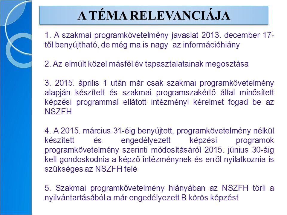 A TÉMA RELEVANCIÁJA 1. A szakmai programkövetelmény javaslat 2013.