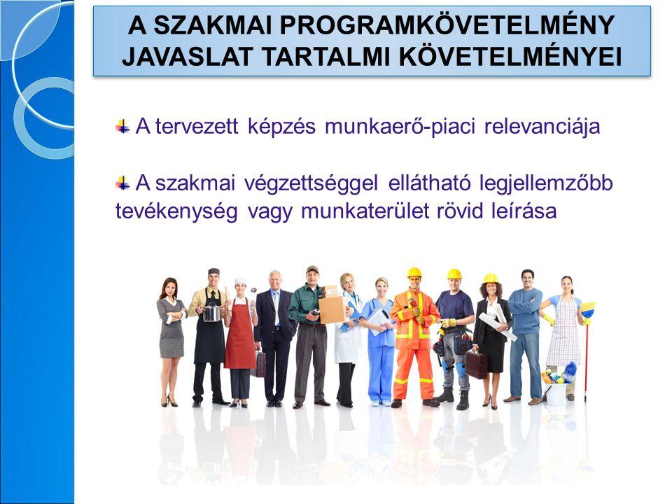 A SZAKMAI PROGRAMKÖVETELMÉNY JAVASLAT TARTALMI KÖVETELMÉNYEI A tervezett képzés munkaerő-piaci relevanciája A szakmai végzettséggel ellátható legjellemzőbb tevékenység vagy munkaterület rövid leírása