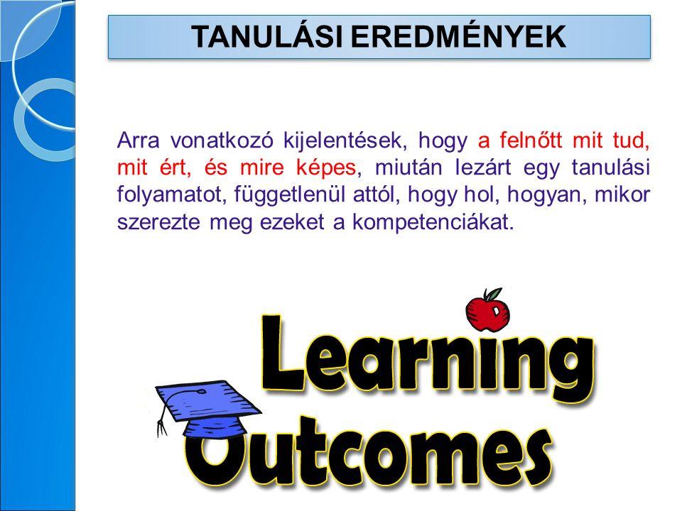 Arra vonatkozó kijelentések, hogy a felnőtt mit tud, mit ért, és mire képes, miután lezárt egy tanulási folyamatot, függetlenül attól, hogy hol, hogyan, mikor szerezte meg ezeket a kompetenciákat.