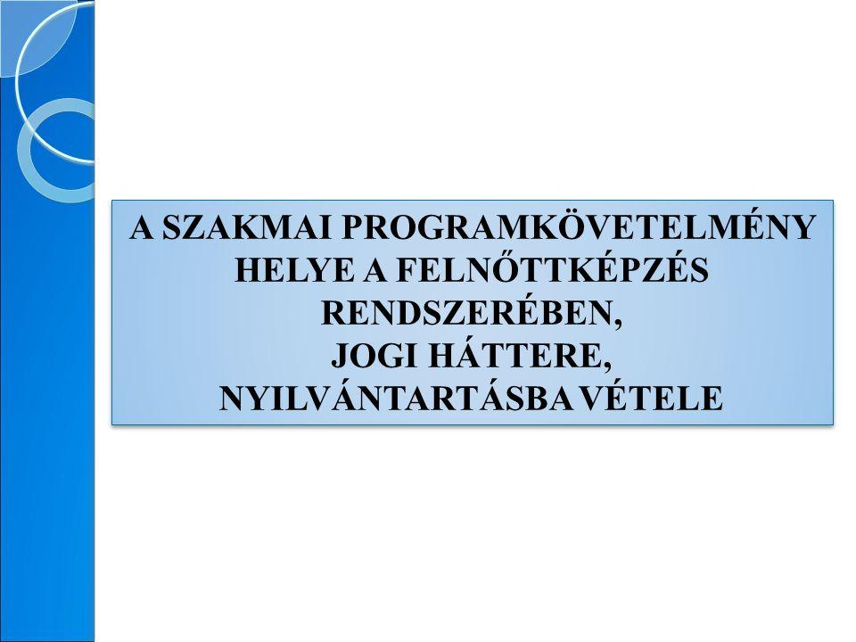 A FELNŐTTKÉPZÉSI TÖRVÉNY HATÁLYA A felnőttképzési törvény hatálya 4 képzési körre terjed ki: A) állam által elismert (OKJ-s) szakképesítés B) támogatott egyéb szakmai képzés C)általános nyelvi képzés és támogatott egyéb nyelvi képzés D) támogatott egyéb képzés