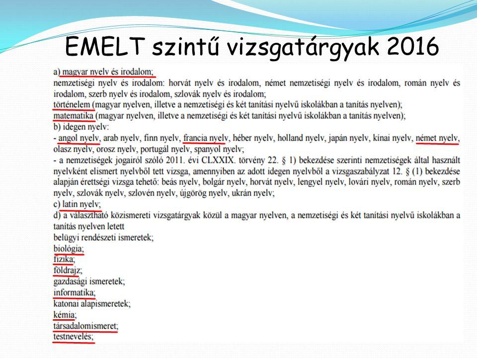 EMELT szintű vizsgatárgyak 2016