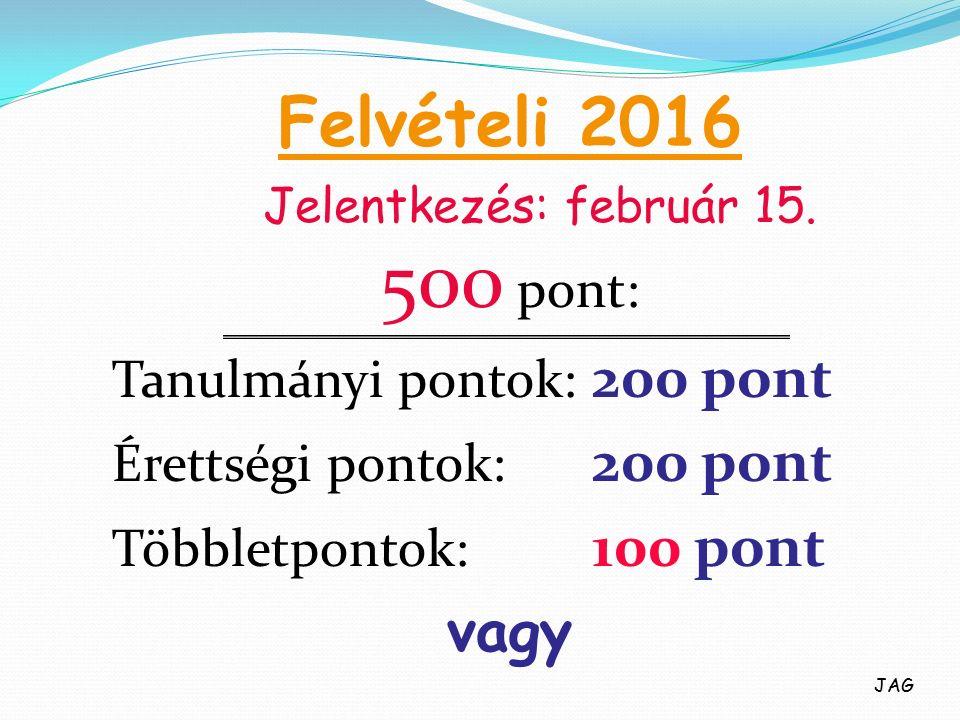 Felvételi 2016 500 pont: Tanulmányi pontok: 200 pont Érettségi pontok: 200 pont Többletpontok: 100 pont vagy Jelentkezés: február 15.