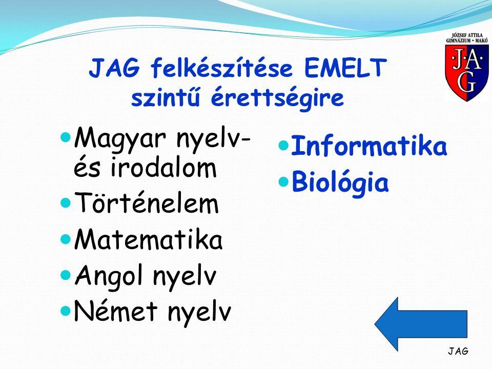 JAG felkészítése EMELT szintű érettségire Magyar nyelv- és irodalom Történelem Matematika Angol nyelv Német nyelv Informatika Biológia JAG