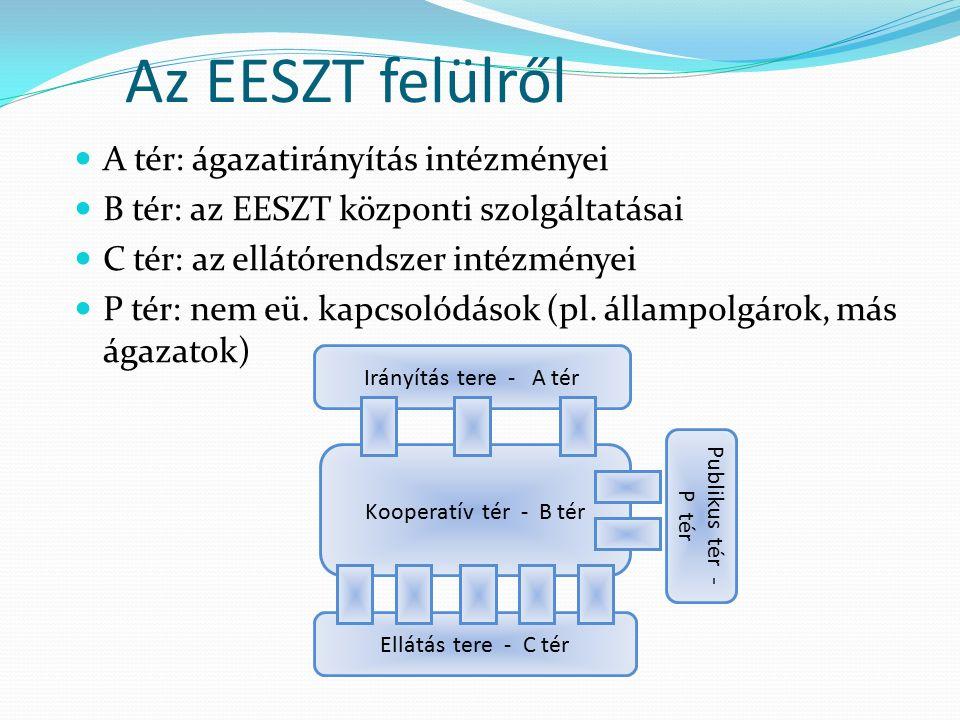 Az EESZT felülről A tér: ágazatirányítás intézményei B tér: az EESZT központi szolgáltatásai C tér: az ellátórendszer intézményei P tér: nem eü.