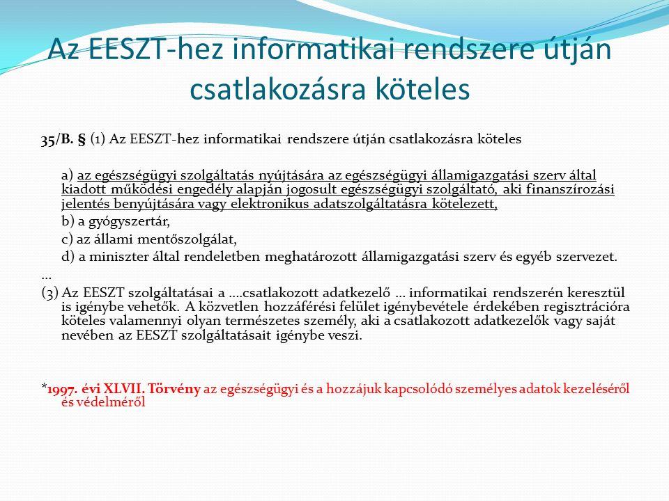 Az EESZT-hez informatikai rendszere útján csatlakozásra köteles 35/B.