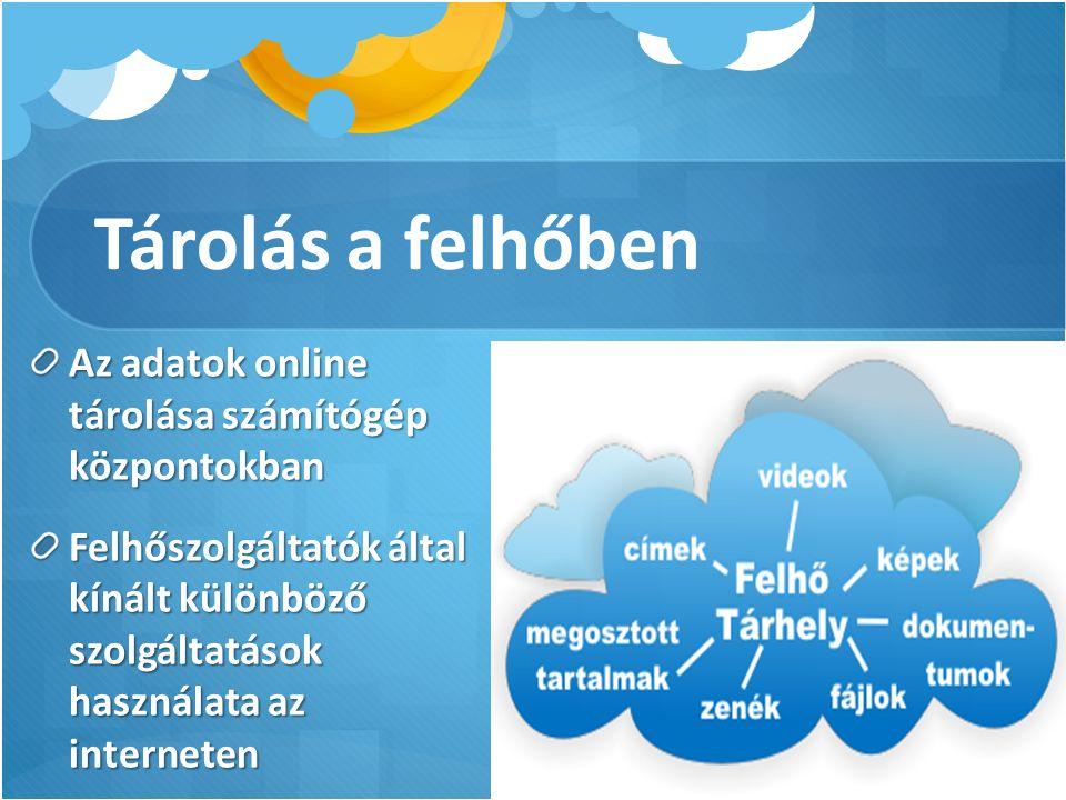 Tárolás a felhőben Az adatok online tárolása számítógép központokban Felhőszolgáltatók által kínált különböző szolgáltatások használata az interneten