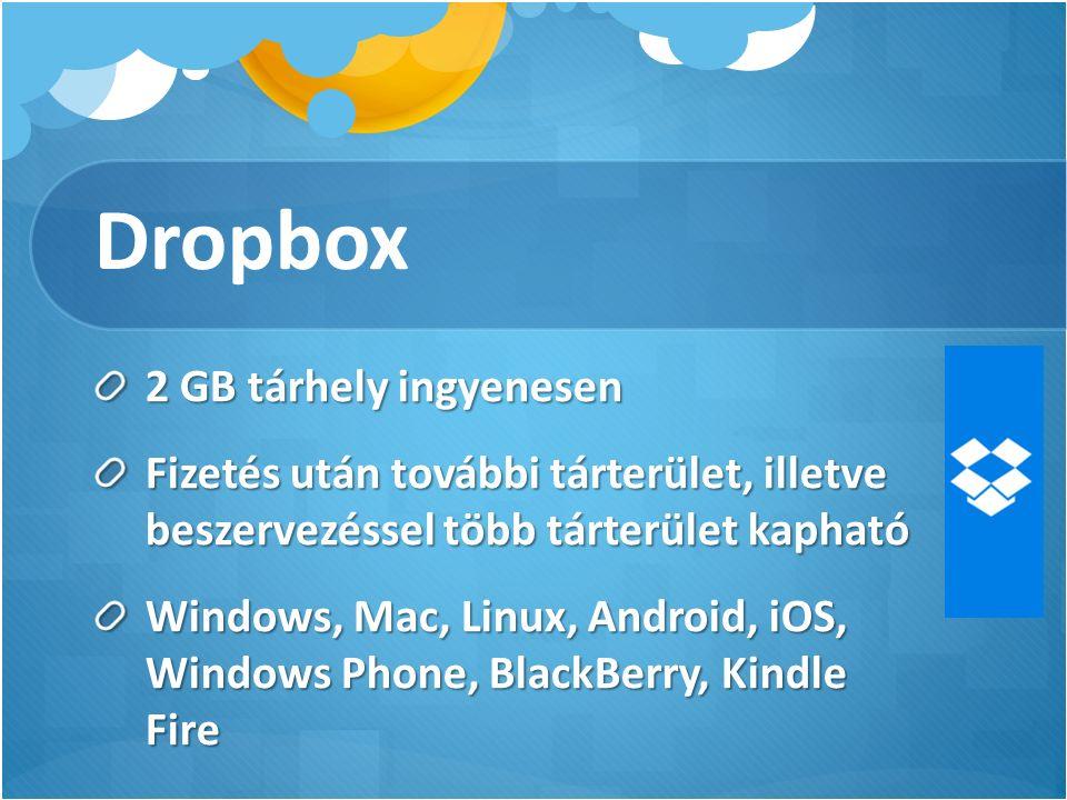 Dropbox 2 GB tárhely ingyenesen Fizetés után további tárterület, illetve beszervezéssel több tárterület kapható Windows, Mac, Linux, Android, iOS, Windows Phone, BlackBerry, Kindle Fire