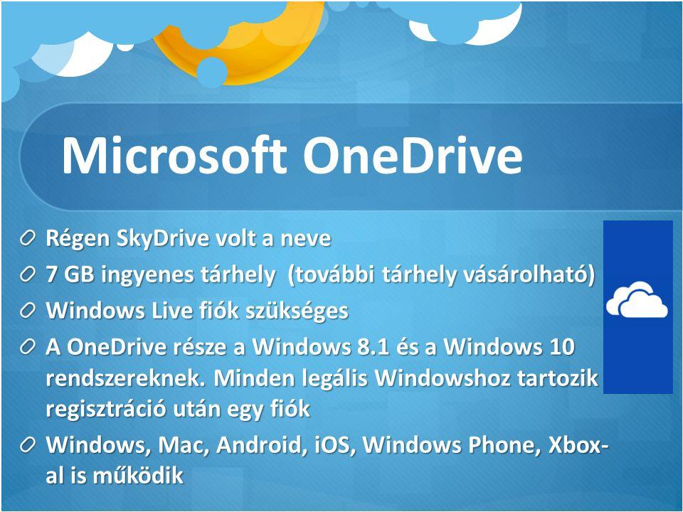 Microsoft OneDrive Régen SkyDrive volt a neve 7 GB ingyenes tárhely (további tárhely vásárolható) Windows Live fiók szükséges A OneDrive része a Windows 8.1 és a Windows 10 rendszereknek.