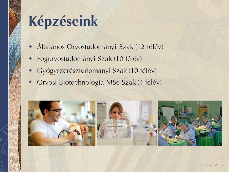 www.aok.pte.hu Képzéseink  Általános Orvostudományi Szak (12 félév)  Fogorvostudományi Szak (10 félév)  Gyógyszerésztudományi Szak (10 félév)  Orvosi Biotechnológia MSc Szak (4 félév)