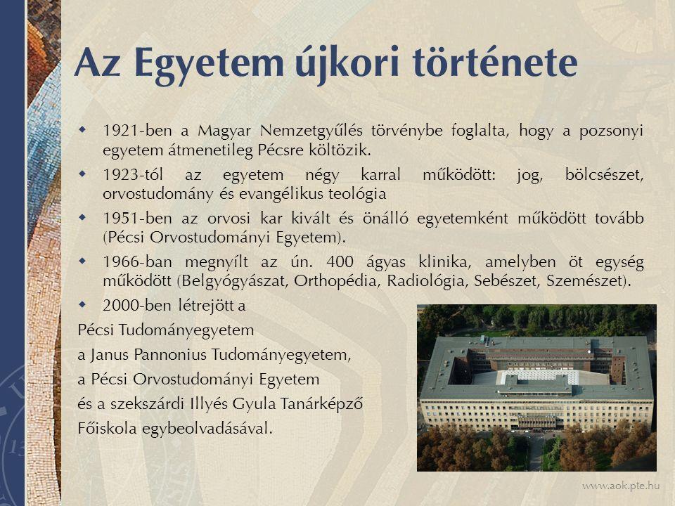 www.aok.pte.hu Az Egyetem újkori története  1921-ben a Magyar Nemzetgyűlés törvénybe foglalta, hogy a pozsonyi egyetem átmenetileg Pécsre költözik.