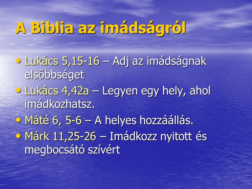 A Biblia az imádságról Lukács 5,15-16 – Adj az imádságnak elsőbbséget Lukács 5,15-16 – Adj az imádságnak elsőbbséget Lukács 4,42a – Legyen egy hely, a