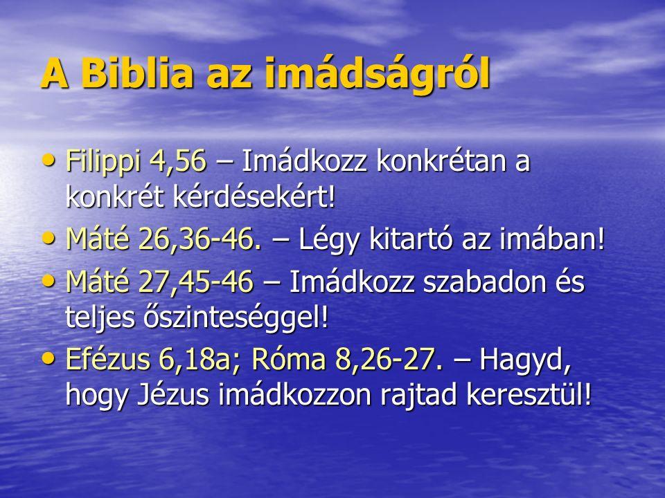 A Biblia az imádságról Filippi 4,56 – Imádkozz konkrétan a konkrét kérdésekért! Filippi 4,56 – Imádkozz konkrétan a konkrét kérdésekért! Máté 26,36-46