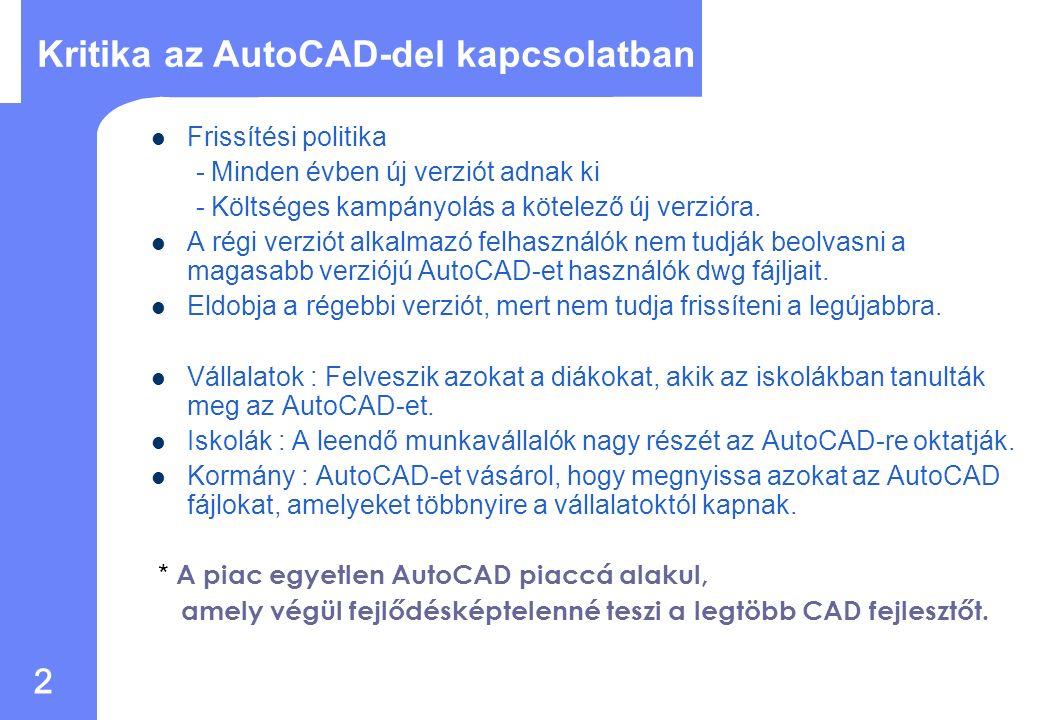 1 A mai CAD piac A CAD mostanáig egyenlő volt az AutoCAD-del AutoCAD dwg formátuma ipari szabvánnyá vált Vélemény: bármilyen CAD az AutoCAD mellett igazából nem számított CAD megoldásnak.
