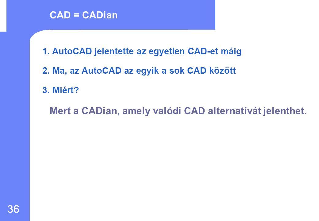 35 CAD=AutoCAD Gyenge értékesítés Gyenge alkalmazás Hasonló mint az AutoCAD de - sebesség probléma - Nem stabil CAD Alacsony árú CAD, esetleg, nem jó Kellemetlen érzés más CAD-re cserélni Nem működött a gazdaságos ár, mivel a CADian nem volt stabil PiacMűködés KedvÁr A múlt A jövő Ellen-AutoCAD AutoCAD ára nőtt Frissítés Kereslet a CAD piacon az alternatívára CADian referencia oldalak a világon Majdnem hasonló CAD, mint az AutoCAD szintén gyors - és stabil Jelentős mennyiségű példányszám kedvező áron, magyar nyelven is, és külső alkalmazá- sokkal.