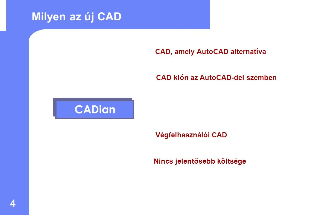 3 Fejlesztési célok: AutoCAD lecserélése Alternatív CAD az AutoCAD-del szemben Fejlesztési háttér : 1.