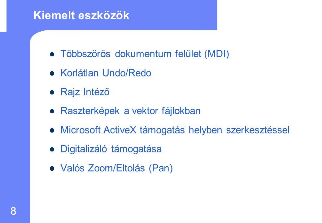 8 Többszörös dokumentum felület (MDI) Korlátlan Undo/Redo Rajz Intéző Raszterképek a vektor fájlokban Microsoft ActiveX támogatás helyben szerkesztéssel Digitalizáló támogatása Valós Zoom/Eltolás (Pan) Kiemelt eszközök