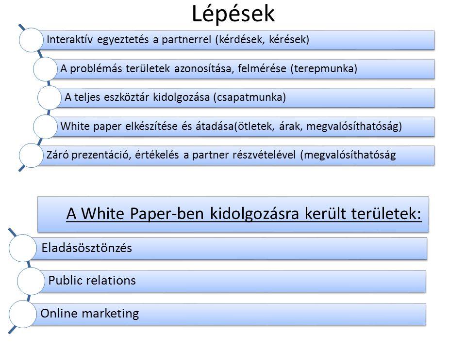 Lépések Interaktív egyeztetés a partnerrel (kérdések, kérések) A problémás területek azonosítása, felmérése (terepmunka) A teljes eszköztár kidolgozása (csapatmunka) White paper elkészítése és átadása(ötletek, árak, megvalósíthatóság) Záró prezentáció, értékelés a partner részvételével (megvalósíthatóság Eladásösztönzés Public relations Online marketing A White Paper-ben kidolgozásra került területek: