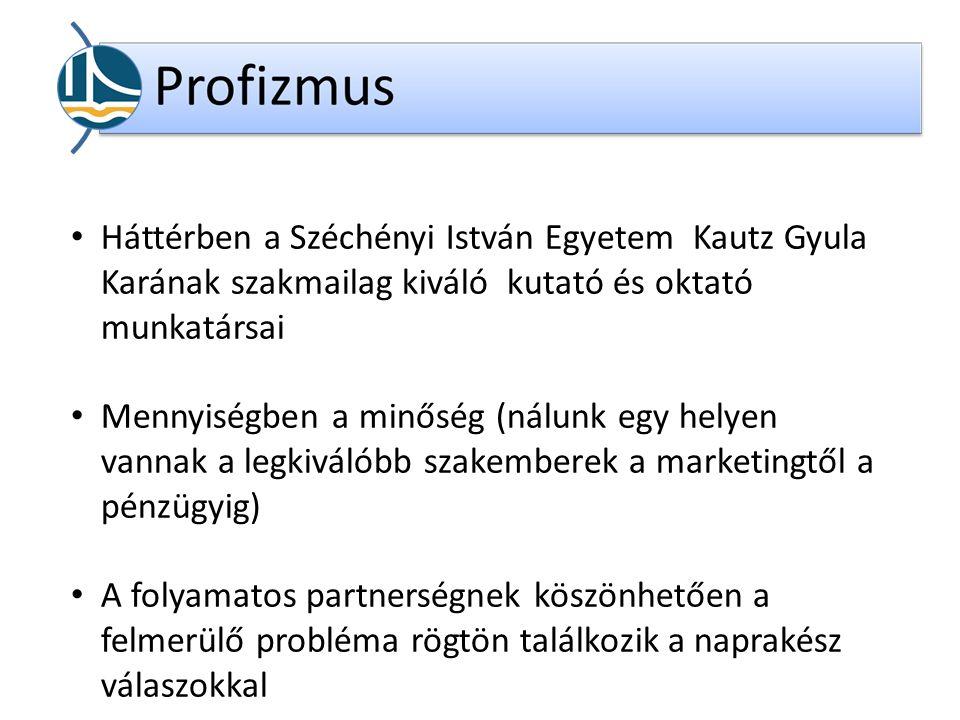 Háttérben a Széchényi István Egyetem Kautz Gyula Karának szakmailag kiváló kutató és oktató munkatársai Mennyiségben a minőség (nálunk egy helyen vannak a legkiválóbb szakemberek a marketingtől a pénzügyig) A folyamatos partnerségnek köszönhetően a felmerülő probléma rögtön találkozik a naprakész válaszokkal