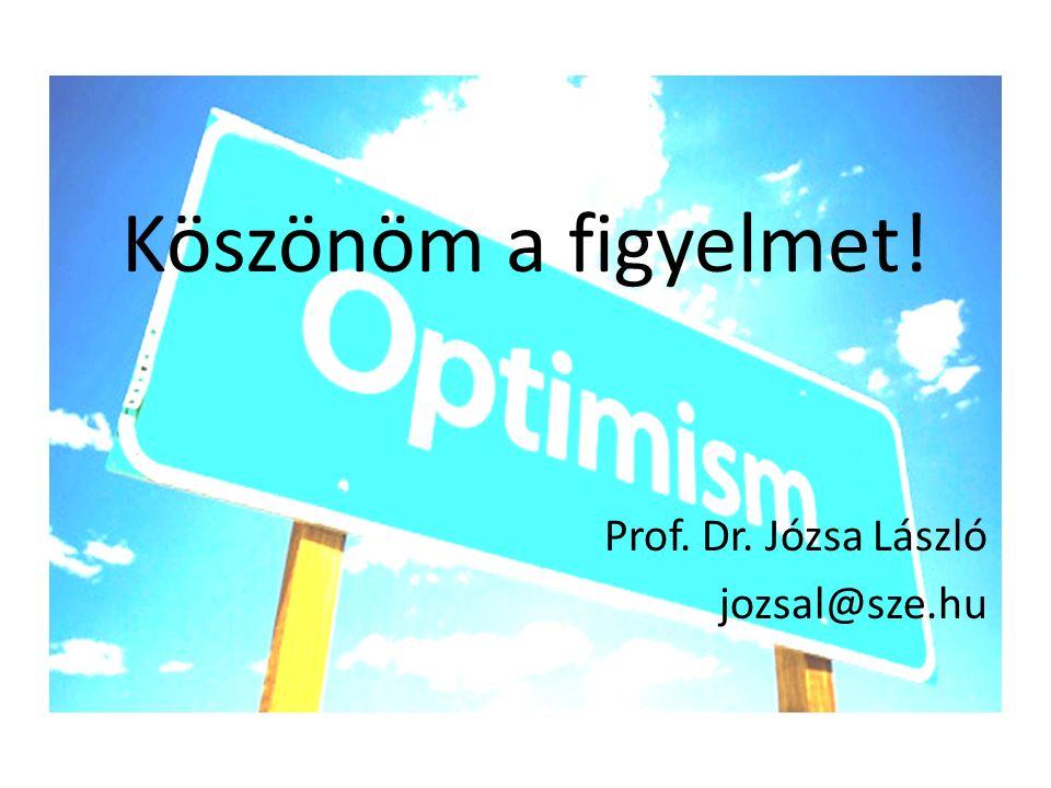 Köszönöm a figyelmet! Prof. Dr. Józsa László jozsal@sze.hu