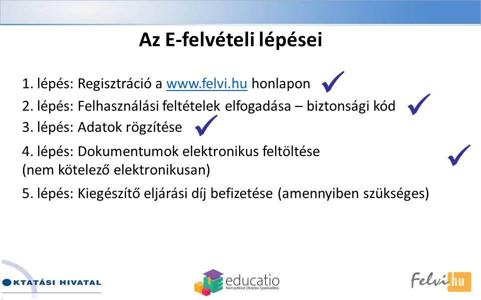 1. lépés: Regisztráció a www.felvi.hu honlaponwww.felvi.hu 2.