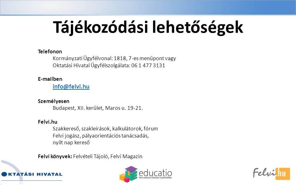 Tájékozódási lehetőségek Telefonon Kormányzati Ügyfélvonal: 1818, 7-es menüpont vagy Oktatási Hivatal Ügyfélszolgálata: 06 1 477 3131 E-mailben info@felvi.hu Személyesen Budapest, XII.