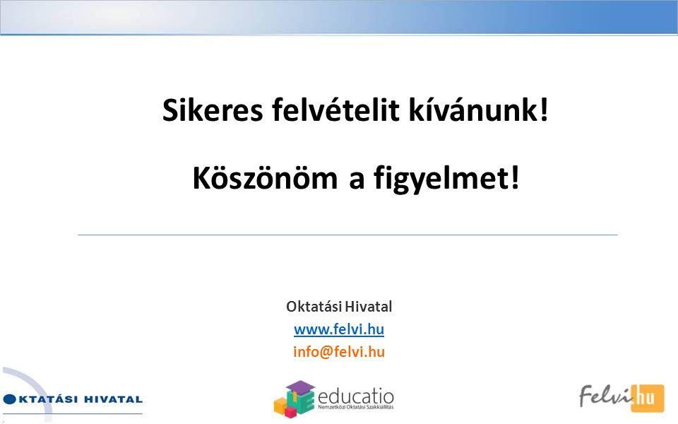 Sikeres felvételit kívánunk! Köszönöm a figyelmet! Oktatási Hivatal www.felvi.hu info@felvi.hu
